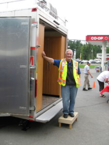 Keith Smith (VA7TAF) at the OECT trailer during a local exercise field site 22 Jun 2012.